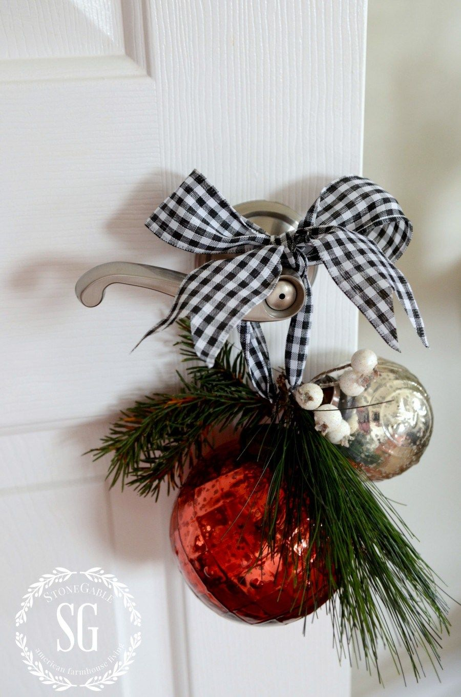 Christmas Ornaments around the Bathroom door Handle via StoneGable #ChristmasDecor #ChristmasBathroom