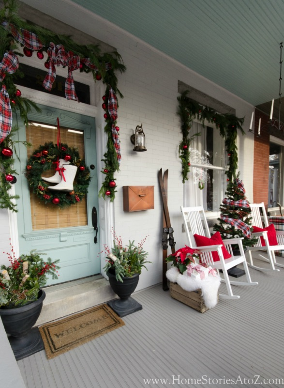 Christmas Porch Decor with Ice Skates via HomeStoriesAtoZ