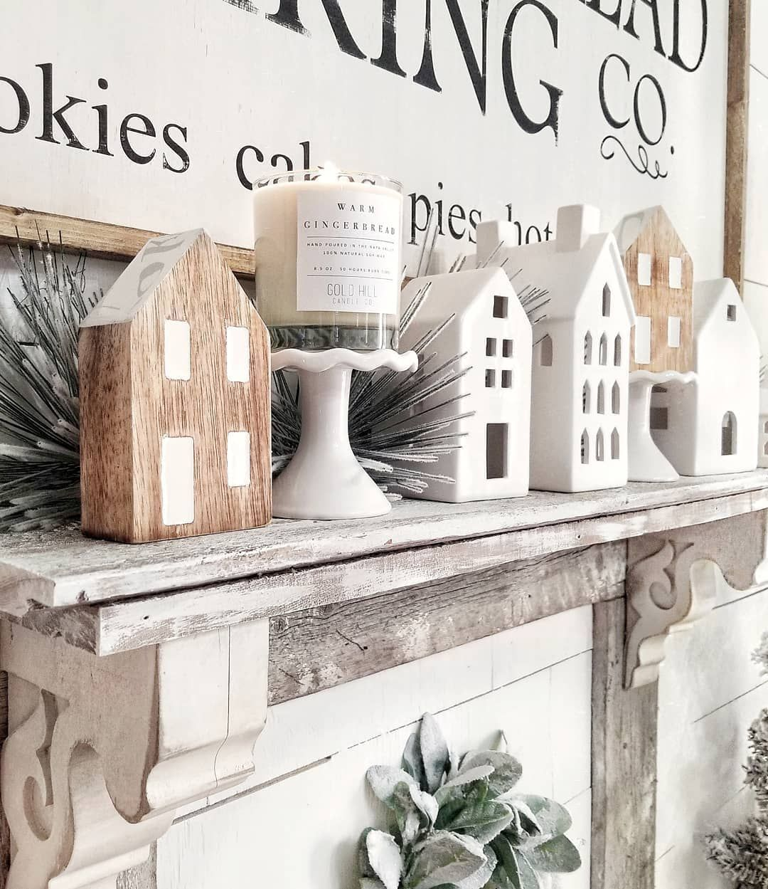 Christmas Village Farmhouse Mantel via @blessed_ranch