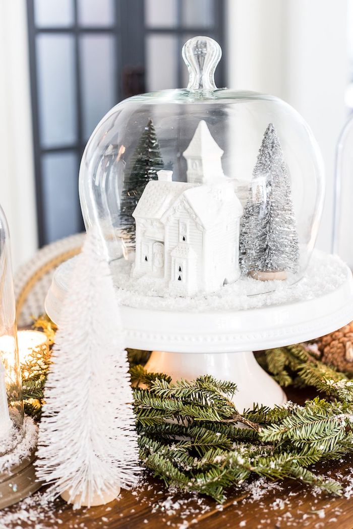 Christmas Village Snow Globe Centerpiece DIY via blesserhouse #Christmas #ChristmasDecor #ChristmasDIY #DIYDecor