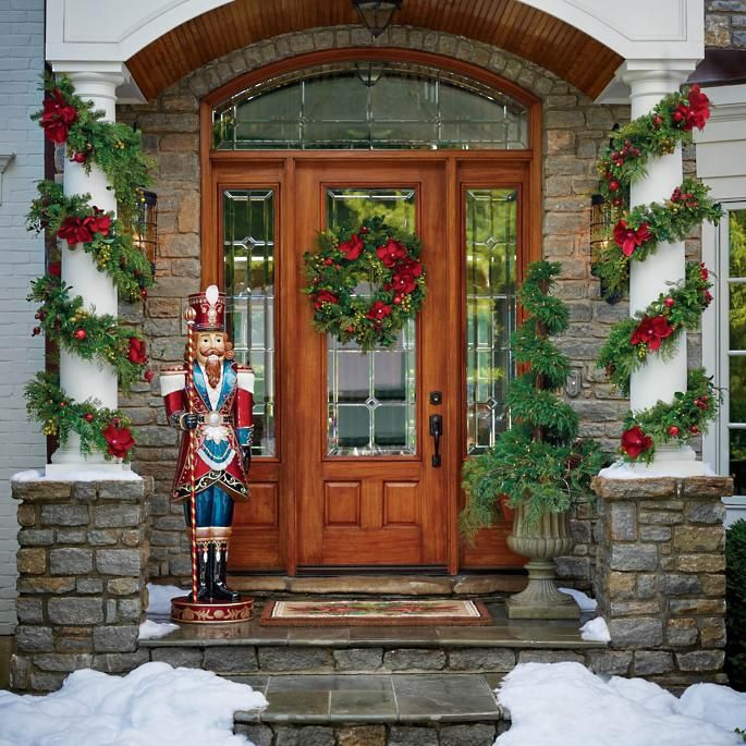 Christmas front door with nutcracker via frontgate 2