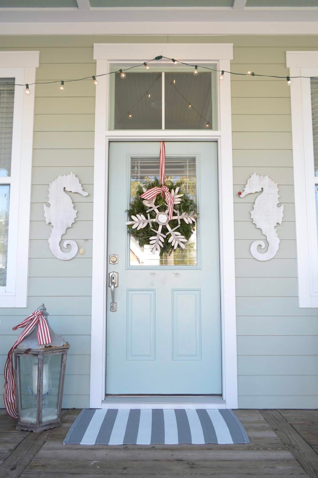 Coastal Christmas Front Door with Seahorses from Quarters1