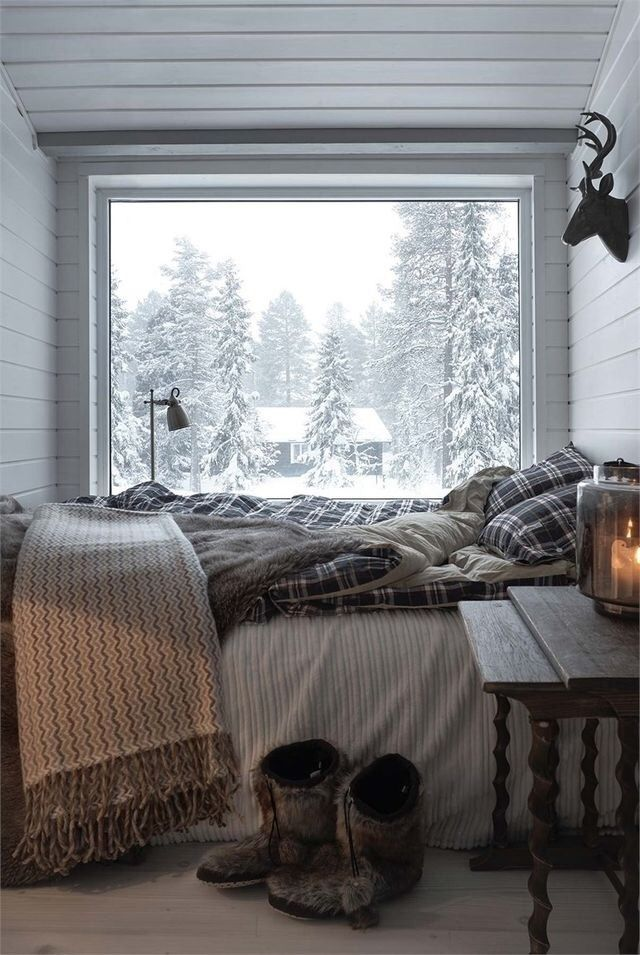 Cozy winter country house bedroom