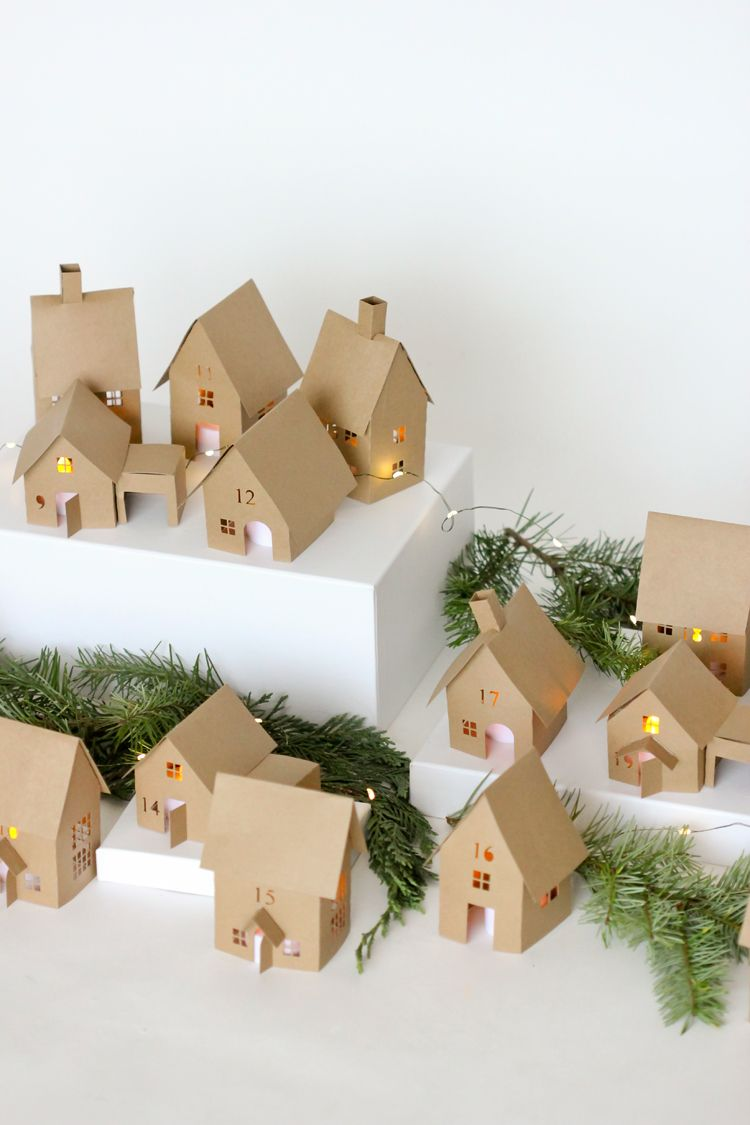 DIY Christmas Village Paper Houses via deliacreates #Christmas #ChristmasDecor #ChristmasDIY #DIYDecor