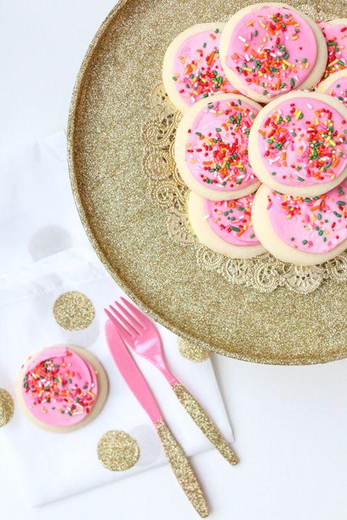 DIY Glitter Cake Stand & Utensils via sugarandcloth