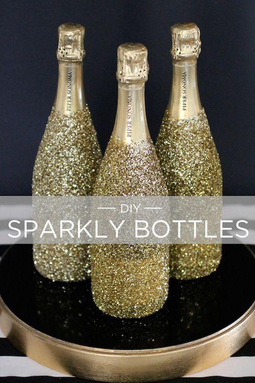 DIY Glittery Champagne Bottles via evite
