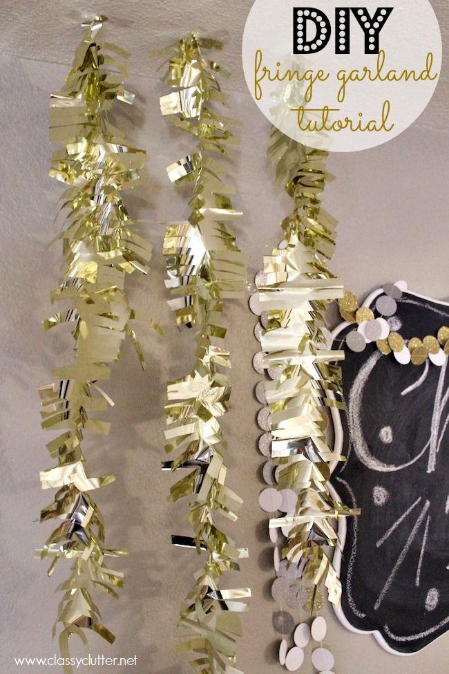 DIY New Year's Fringe Garland Decor via classyclutter