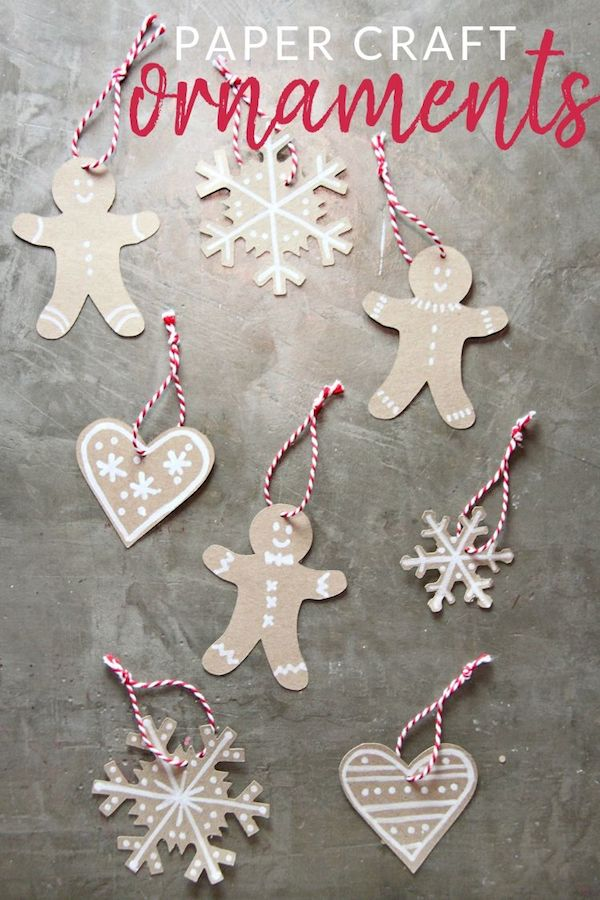 DIY Paper Gingerbread Ornaments via thecrazycraftlady #Christmas #ChristmasDecor #ChristmasDIY #DIYDecor