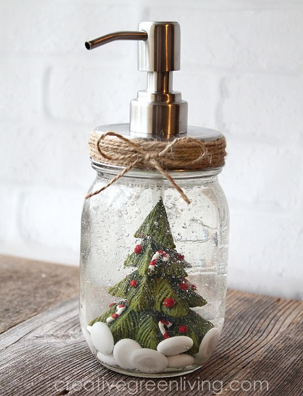 DIY Snow globe mason jar soap pump Christmas Decor via creativegreenliving #Christmas #ChristmasDecor #ChristmasDIY #DIYDecor