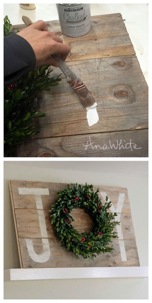 DIY Wood Joy Sign via ana-white #Christmas #ChristmasDecor #ChristmasDIY #DIYDecor