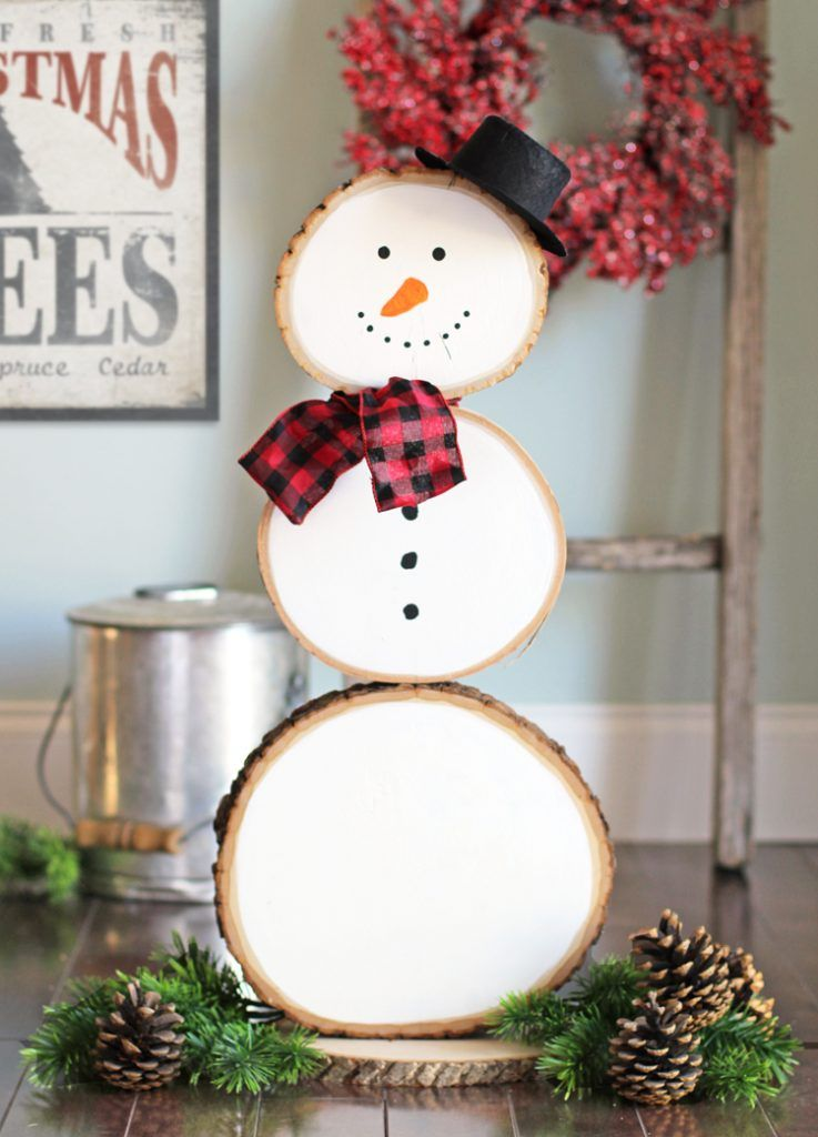 DIY Wood Slice Snowman Decoration via thecraftpatchblog #Christmas #ChristmasDecor #ChristmasDIY #DIYDecor