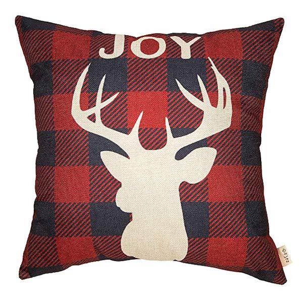Deer Elk Buffalo Check Pillow