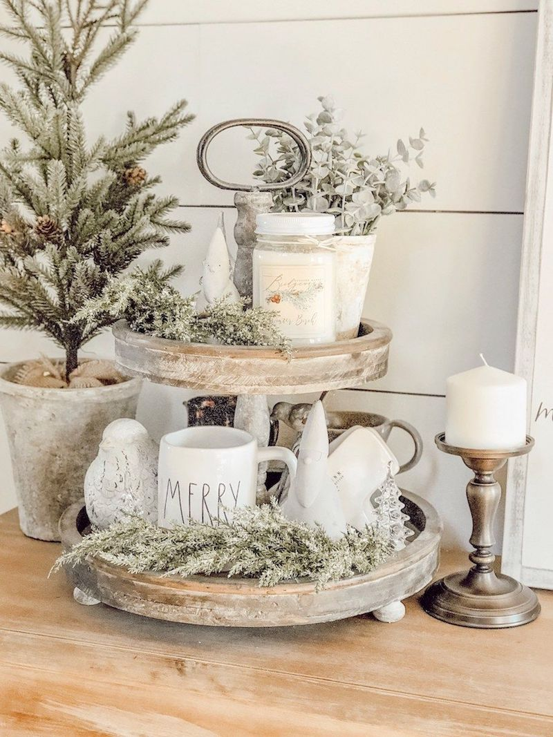 Farmhouse Christmas Decor Tiered Stand via rainandpine