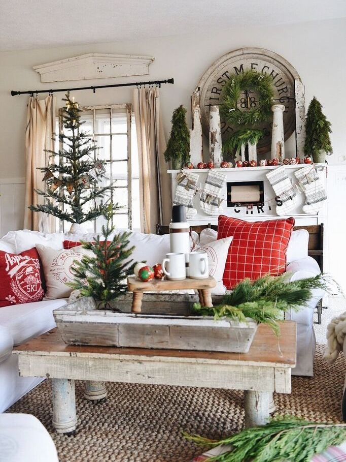Farmhouse Christmas Living Room Decor Ideas via LizMarieBlog