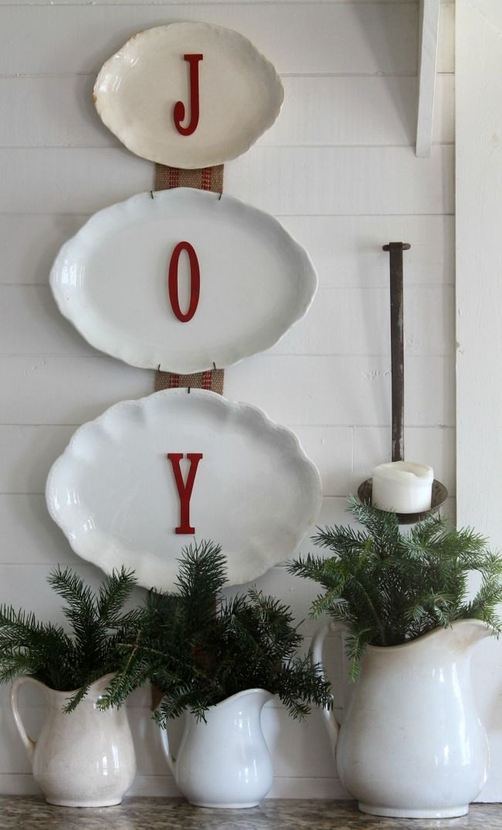 Farmhouse Christmas Wall Decor - JOY Plates
