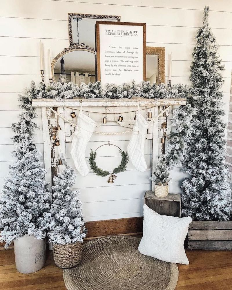 Flocked Christmas Trees and Vintage Mirrors via @decor.dogs.and.donuts