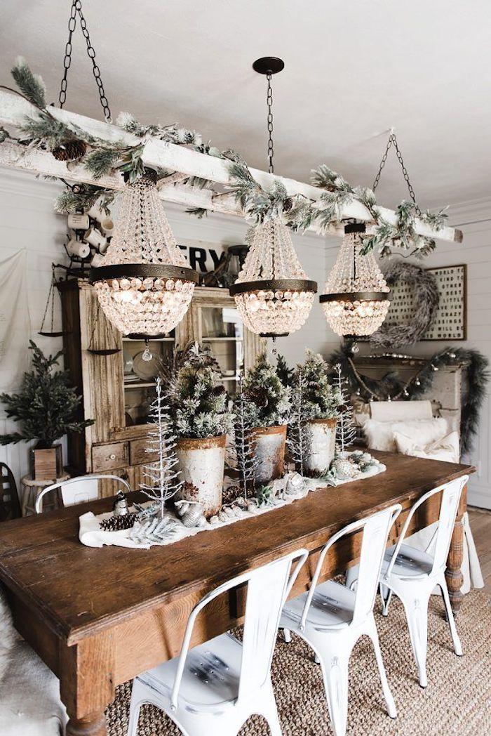 Flocked evergreens in the Christmas Dining Room via lizmarieblog #ChristmasDecor #ChristmasDiningRoom