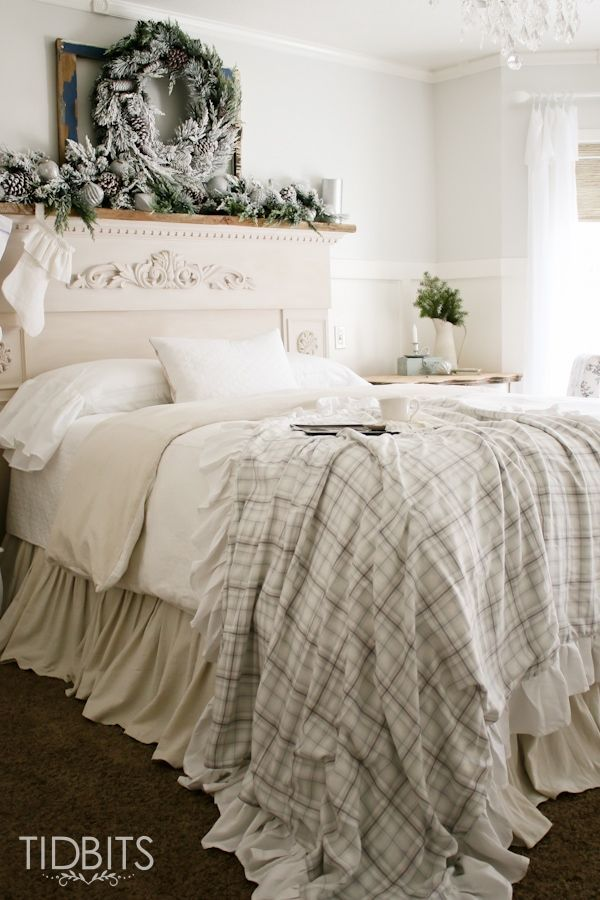 French Country Christmas Bedroom via tidbits-cami #FrenchCountry #FrenchChristmas #FrenchCountryDecor