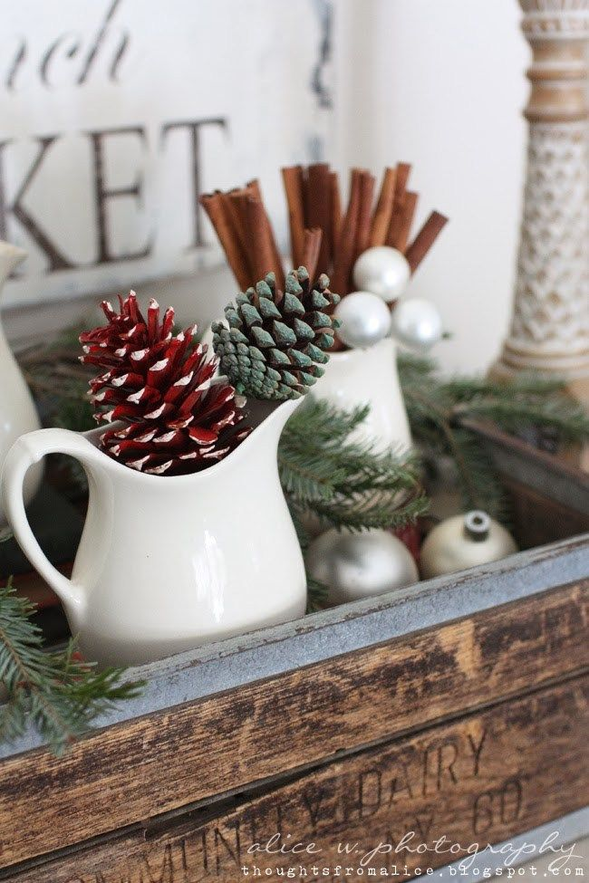 French Farmhouse Christmas Pitcher Decor via alicewingerden