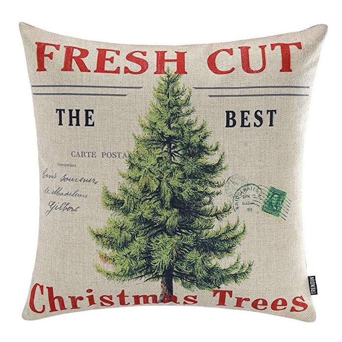 Fresh Cut Trees Linen Christmas Pillow