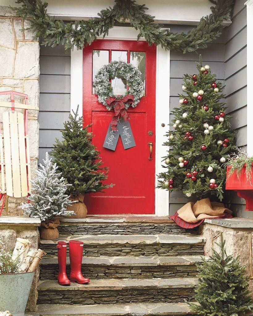 Front Door Decor Christmas Trees and Wreaths