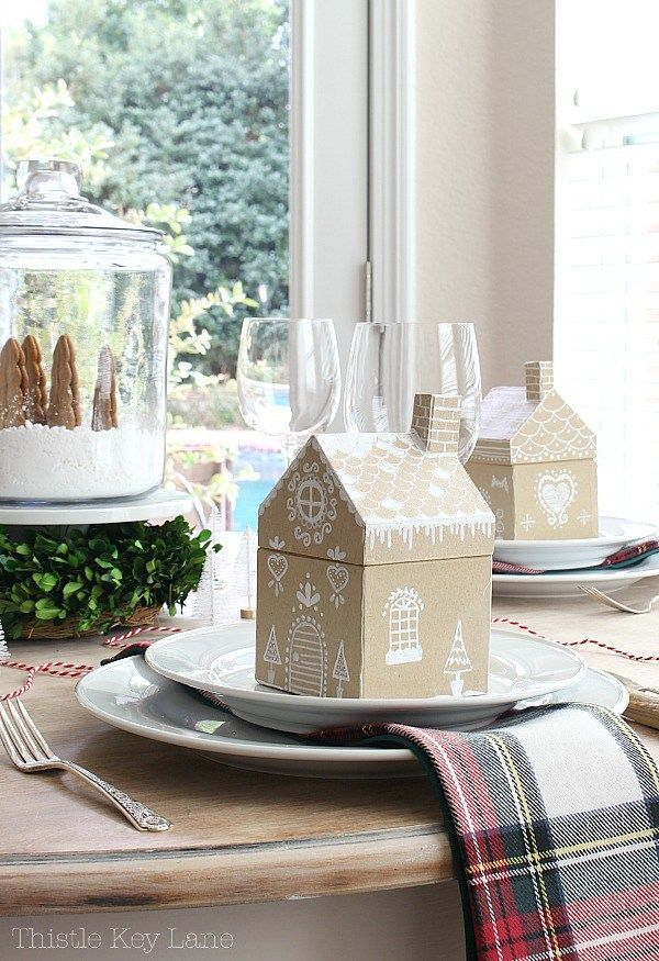 Gingerbread House Table Place Setting for Christmas via ThistleKeyLane