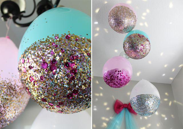Glitter Dipped Balloons DIY New Year's Eve Decor via sisterssuitcaseblog
