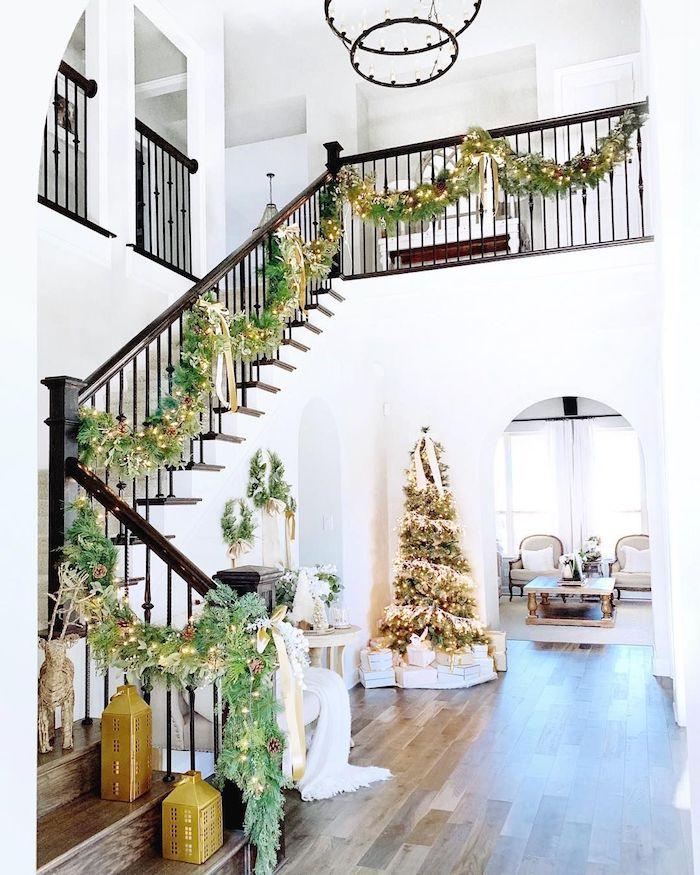 Gold and Green Garland Christmas Staircase via @mytexashouse