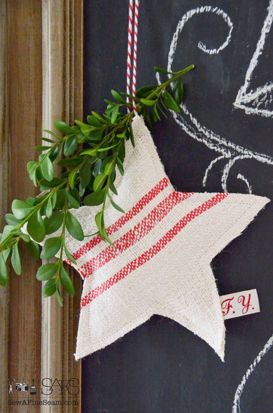 Grain Sack Star Christmas Ornaments via sewafineseam