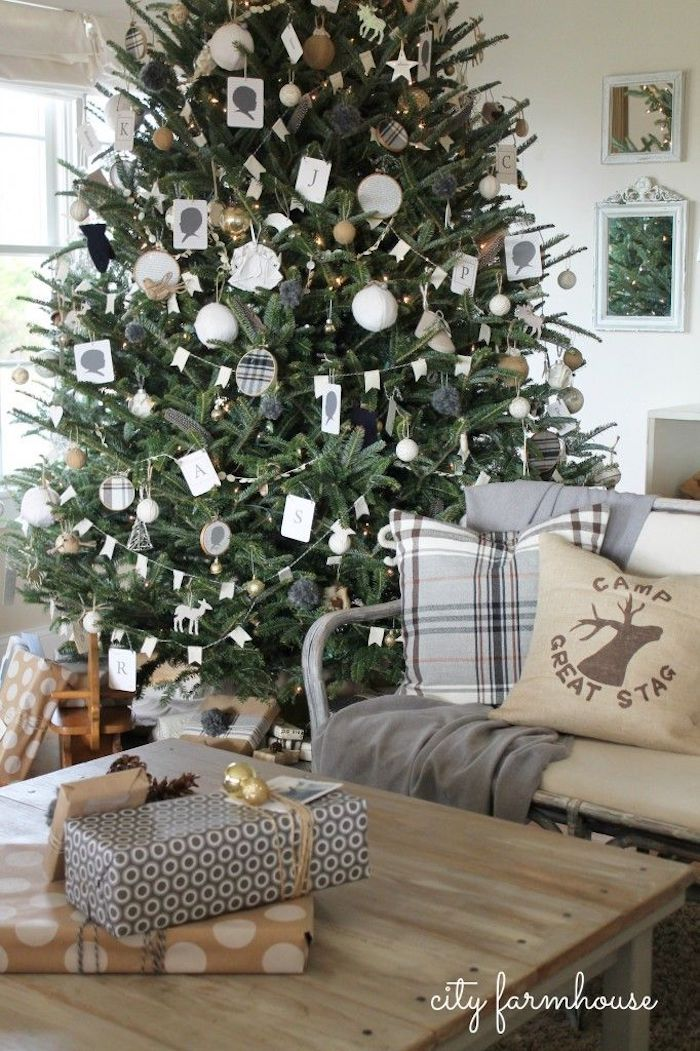Gray Christmas Living Room Decor via @cityfarmhouse1