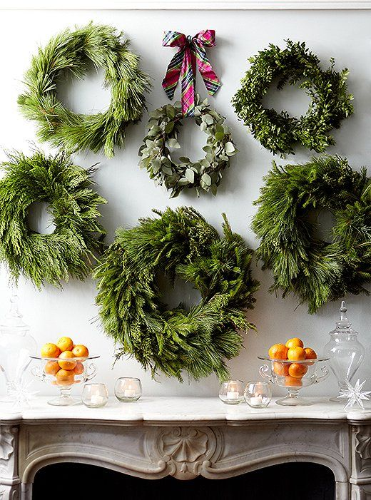 Holiday Greenery Wreath Display via OneKingsLane