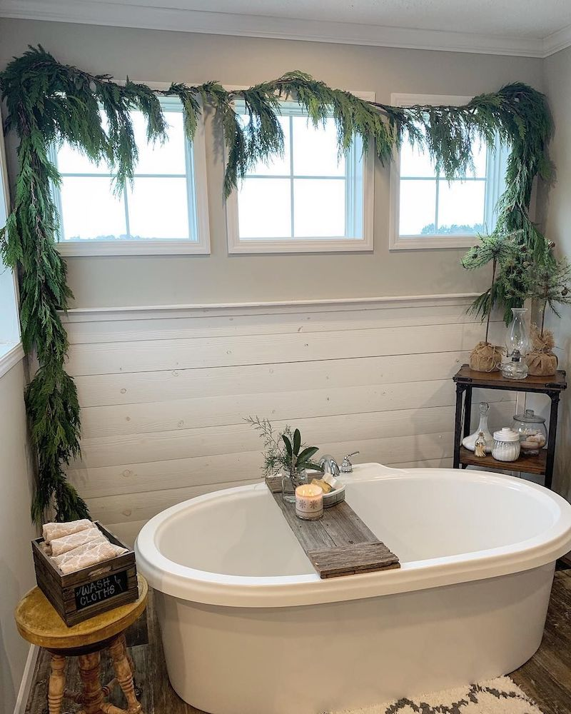 Home Depot Live Garland over the Bathtub via @simplylakeandlace