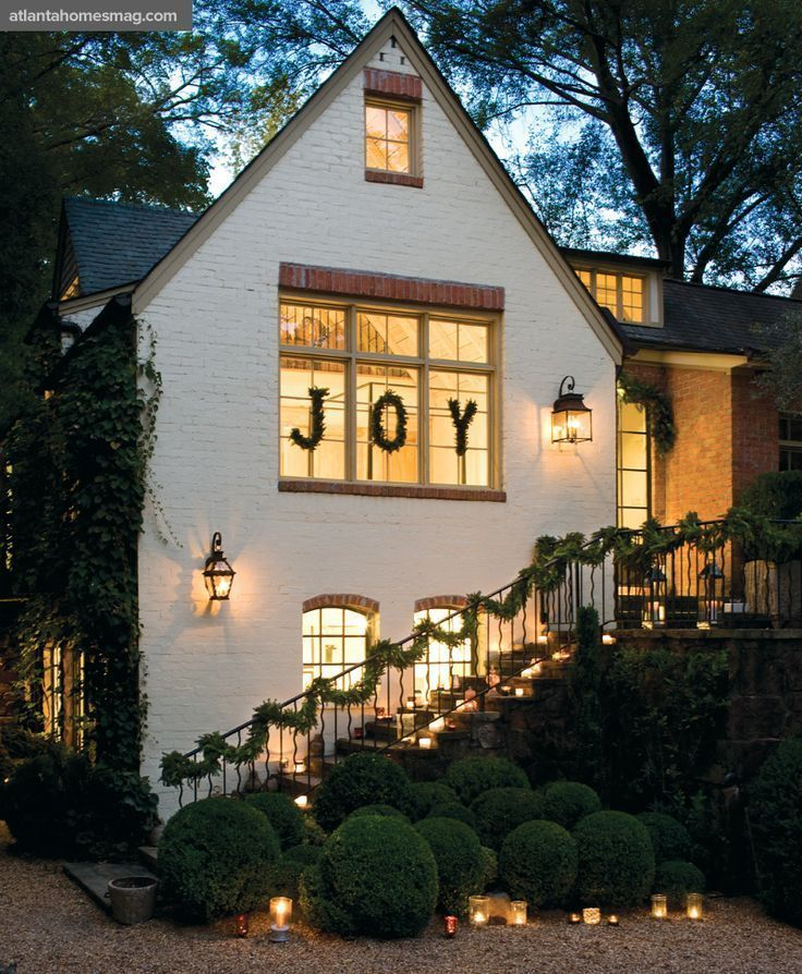JOY Christmas Outdoor House Decor via atlantahomesmag