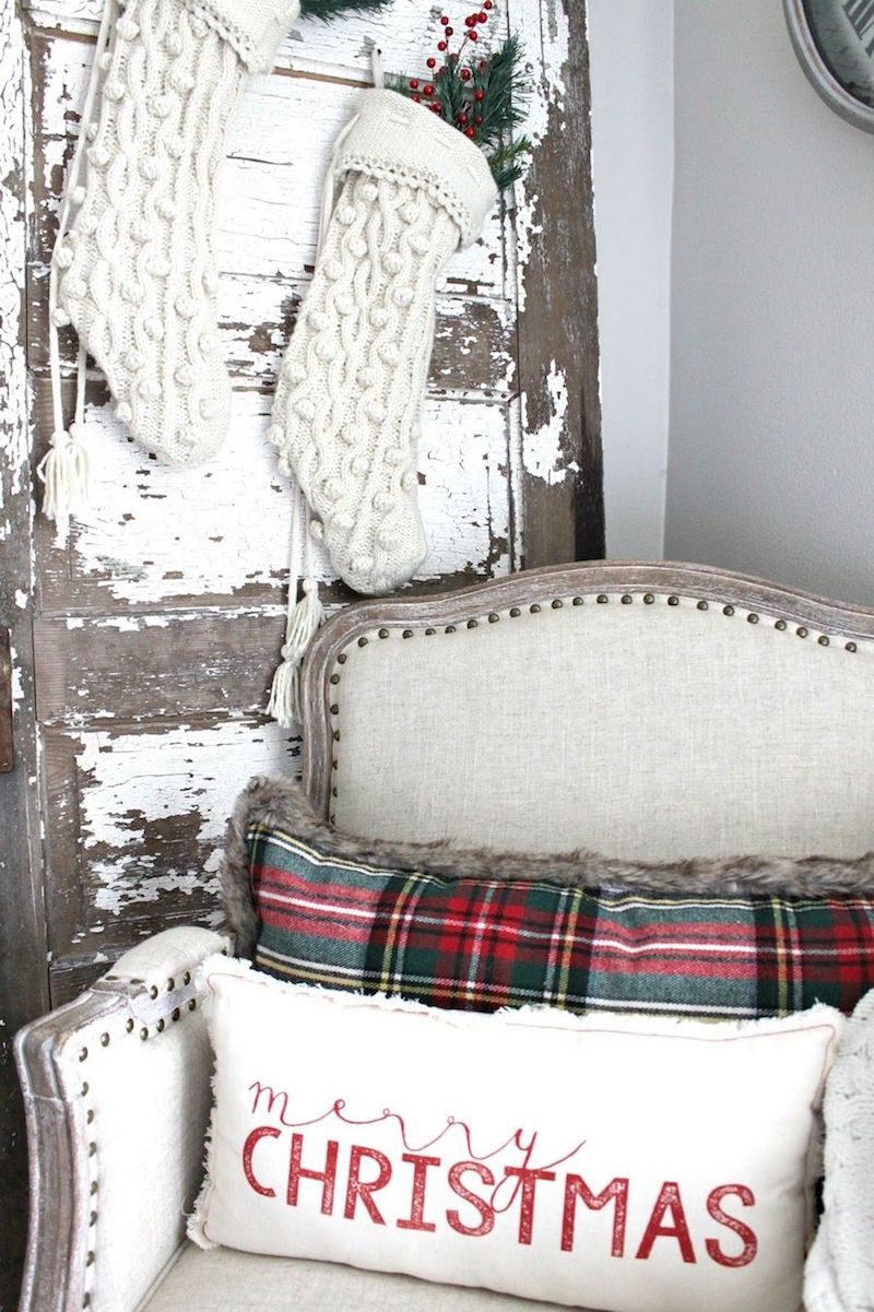 Louis Arm Chair and Rustic Barn Door Farmhouse Christmas Decor via nestingblissfullyinteriors