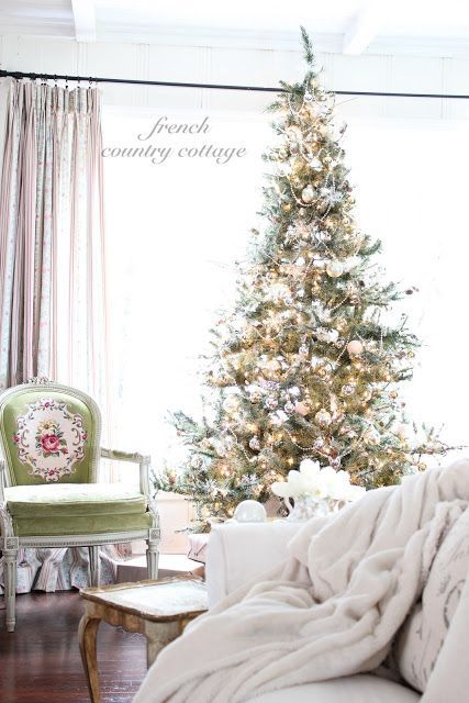 Louis Arm Chair with Christmas tree via frenchcountrycottage #FrenchCountry #FrenchChristmas #FrenchCountryDecor