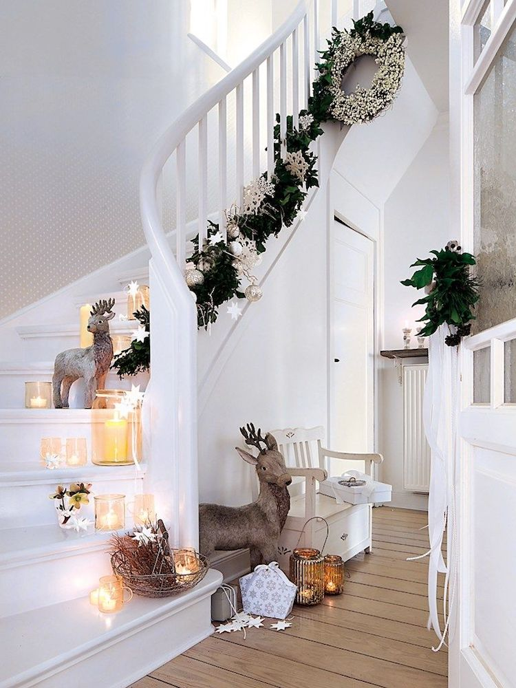 Low-Hanging Christmas Garland on the Stairs