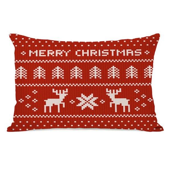 Merry Christmas Sweater Lumbar Pillow