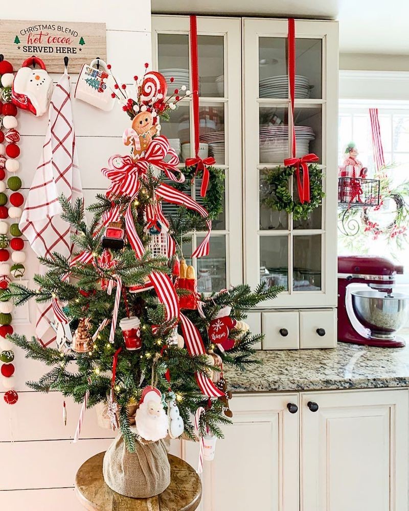 Mini Christmas Tree on Kitchen Barstool via @goldenboysandme