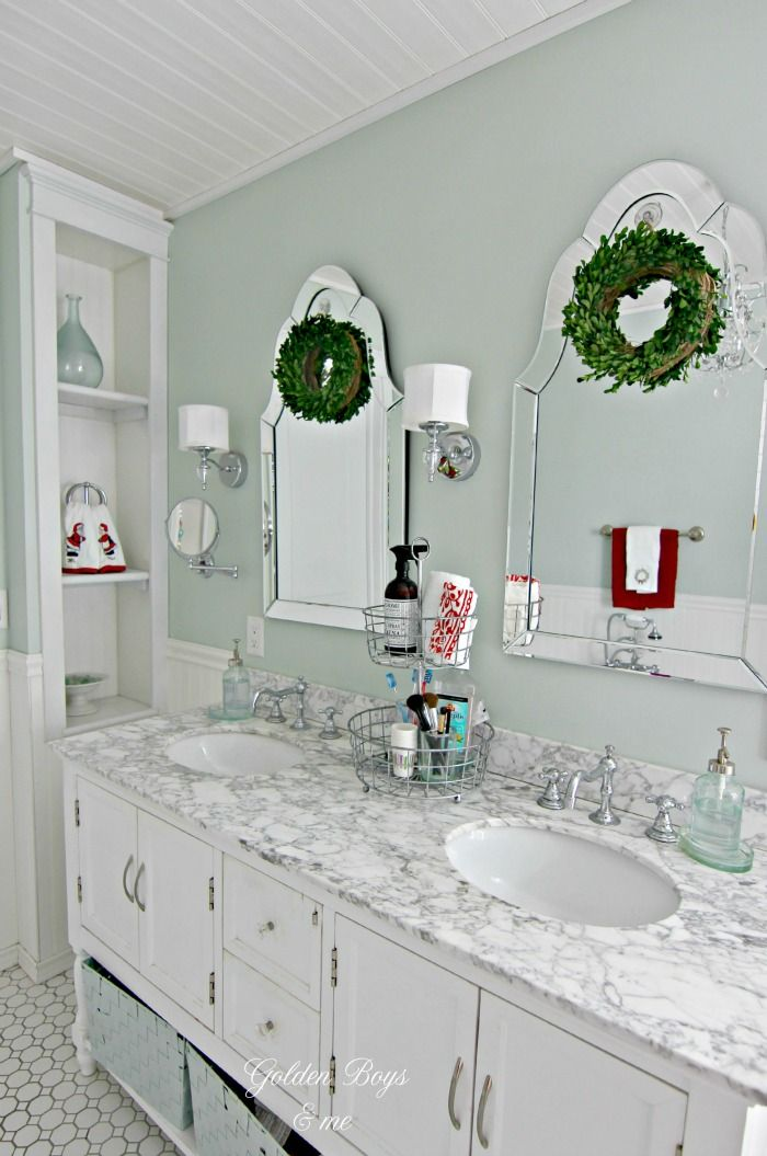 Mini Christmas Wreaths in Bathroom via goldenboysandme