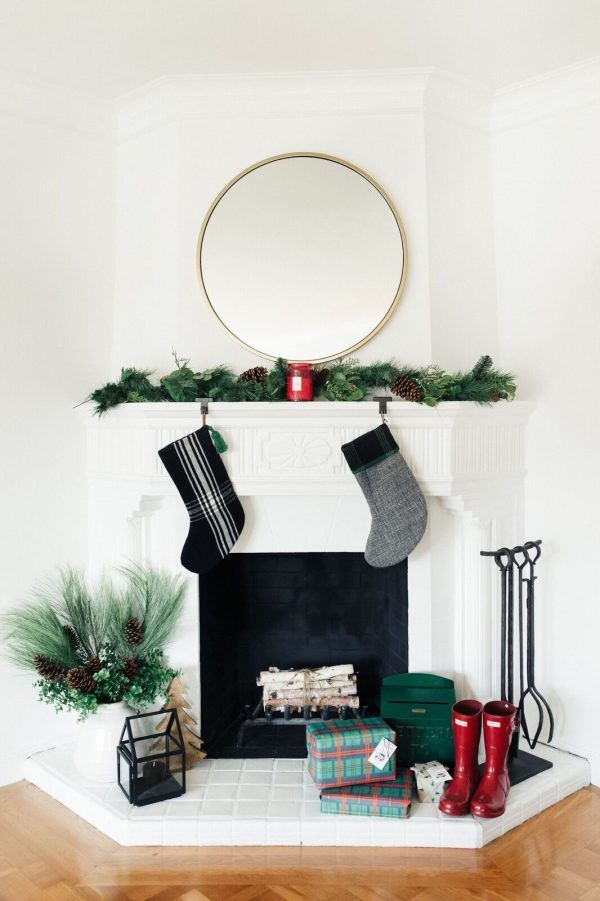 Minimal Christmas mantel via stylemepretty