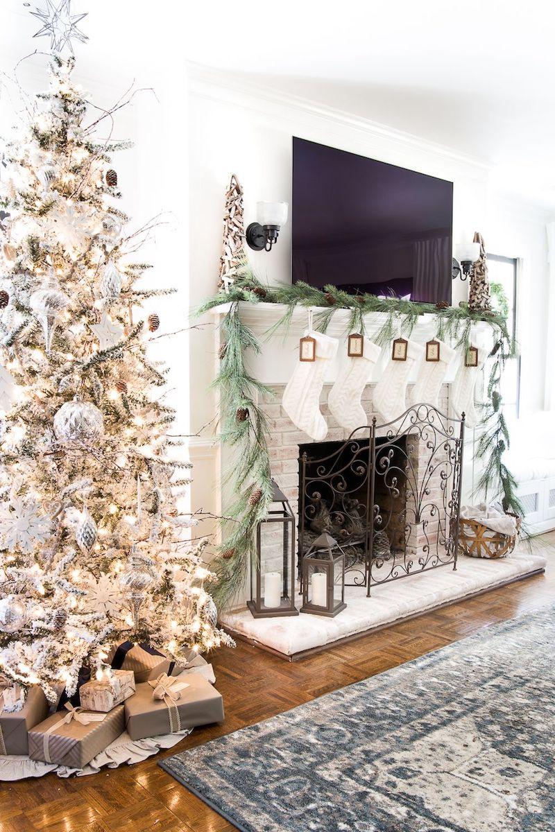 Natural Christmas Living Room Decor via BlesserHouse
