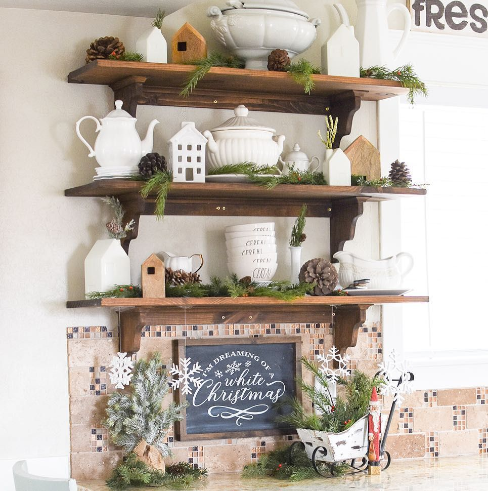 Open Kitchen Shelving Christmas Decor via @brooke_startathome