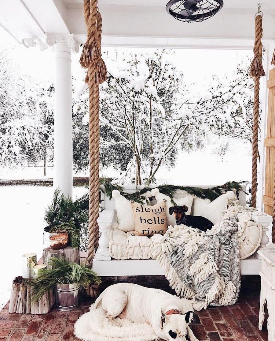 Outdoor winter porch decor ideas