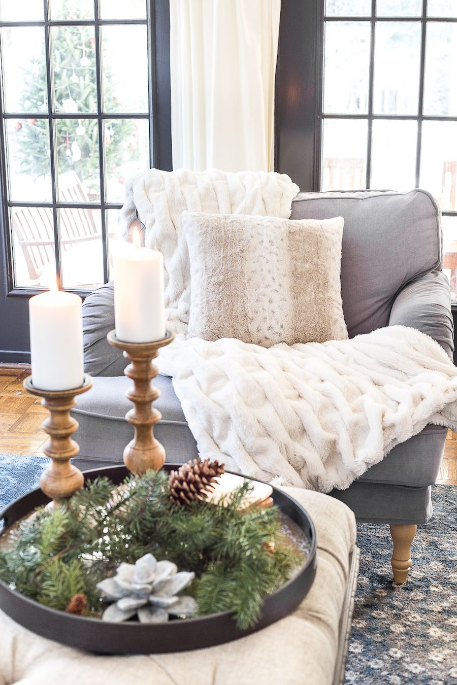 Oversized accent chair with a throw fur banket via blesserhouse