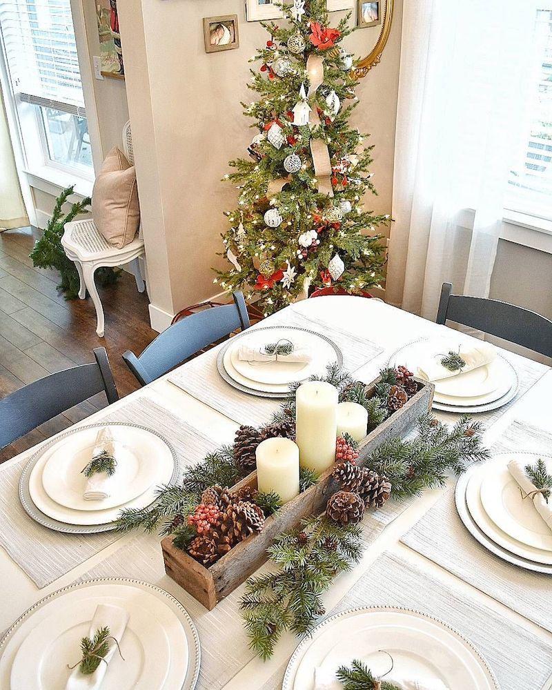 Pinecone and Evergreen Christmas Tablescape via @decorandmoredesigns