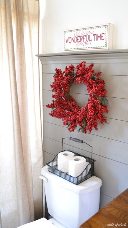 Red Christmas Wreath Bathroom Decor via beneathmyheart