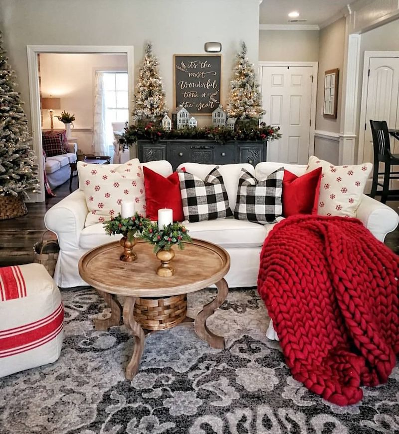 Red Chunky Knit Blanket in Christmas Living Room