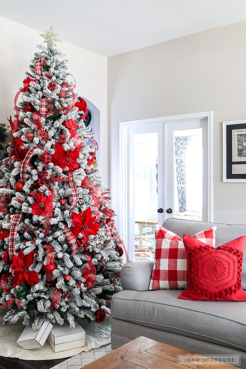 Red Poinsettia Flocked Christmas Tree Living Room Decor via jenwoodhouse