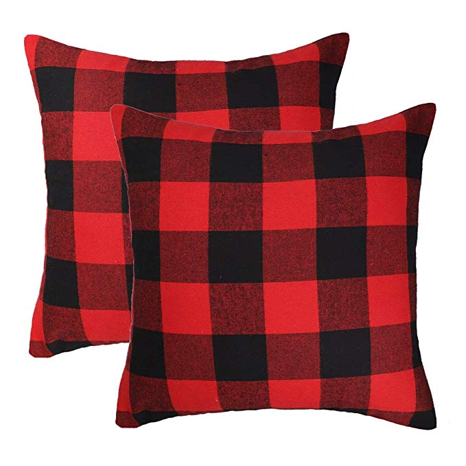 Red and Black Buffalo Check Plaid Throw Pillow