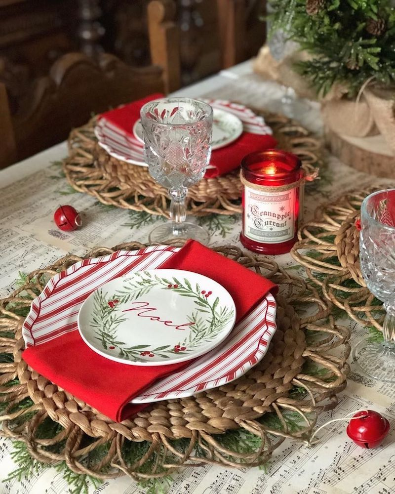 Red and White Christmas Tablescape via @cupcakecountrygirl